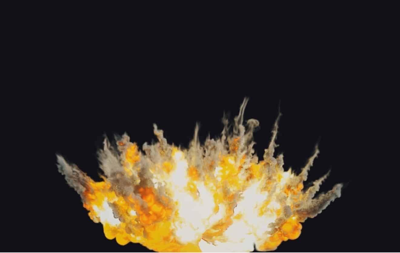 Houdini Pyrofx - Big airstrike explosion